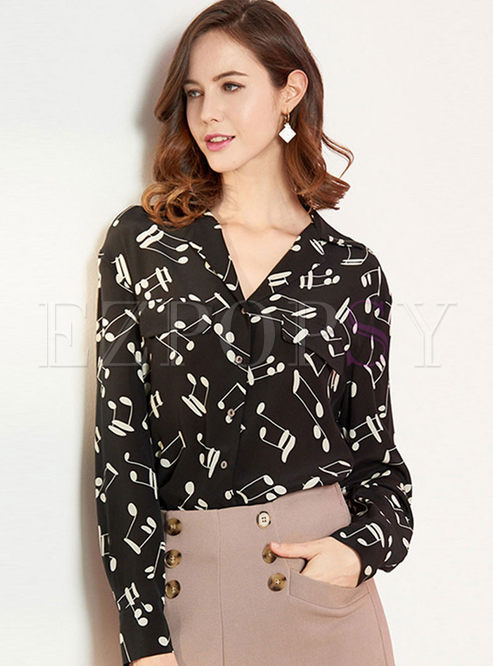 Black V-neck Print Loose Silk Blouse