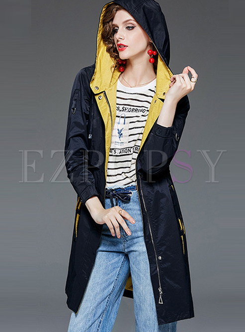 Patchwork Waist Hooded Trench Coat With Drawcord