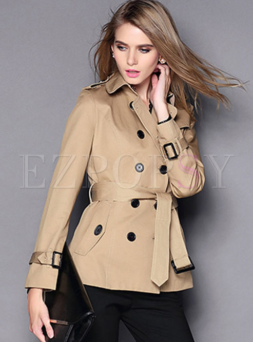 Lapel Double-breasted Short Trench Coat