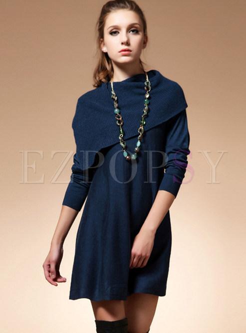 Deep Blue Plus Size Patchwork Sweater