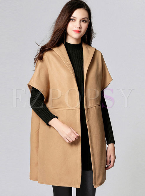 Hooded Short Sleeve Wool Blended Coat