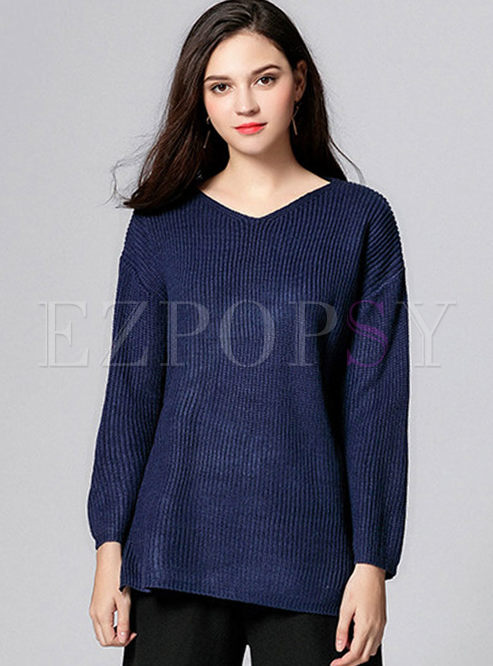 Yellow V-neck Loose Pullover Sweater