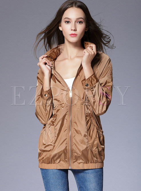 Casual Solid Color Stand Collar Slim Coat