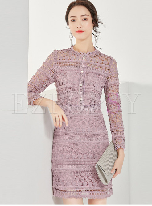 Purple Lace Openwork Bodycon Dress