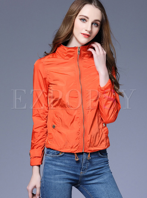 Orange Stand Collar Slim Short Jacket