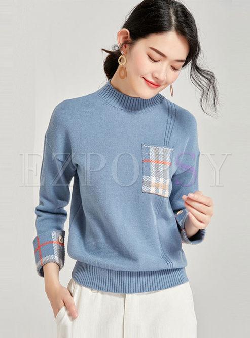 Half Turtleneck Plaid Patchwork Sweater