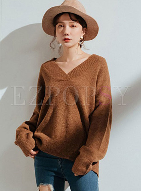 Casual Off Shoulder Loose Pullover Sweater