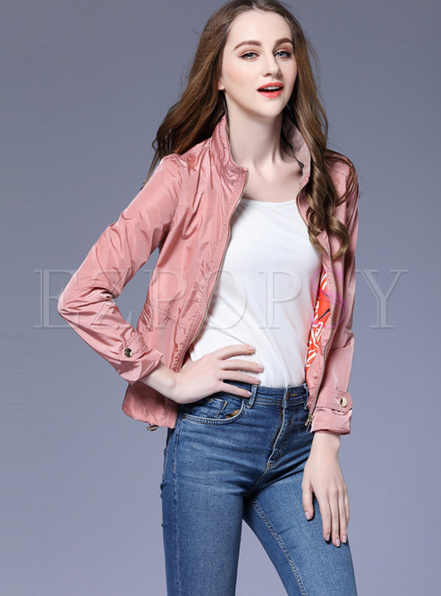 Casual Stand Collar Slim Short Jacket