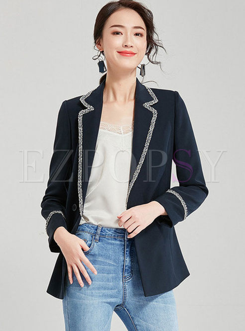 Notched Long Sleeve Rough Selvedge Blazer