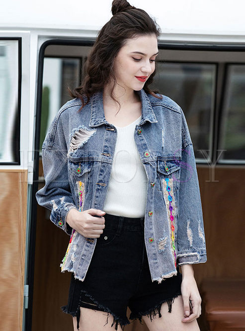 Turn Down Collar Hole Denim Jacket