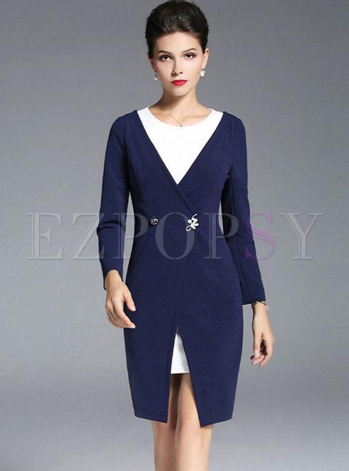 Color-blocked O-neck Long Sleeve Bodycon Dress