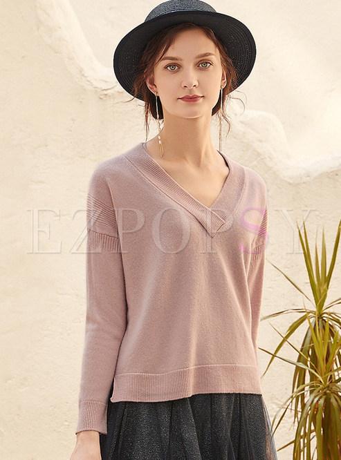 Brief V-neck Loose Pullover Sweater