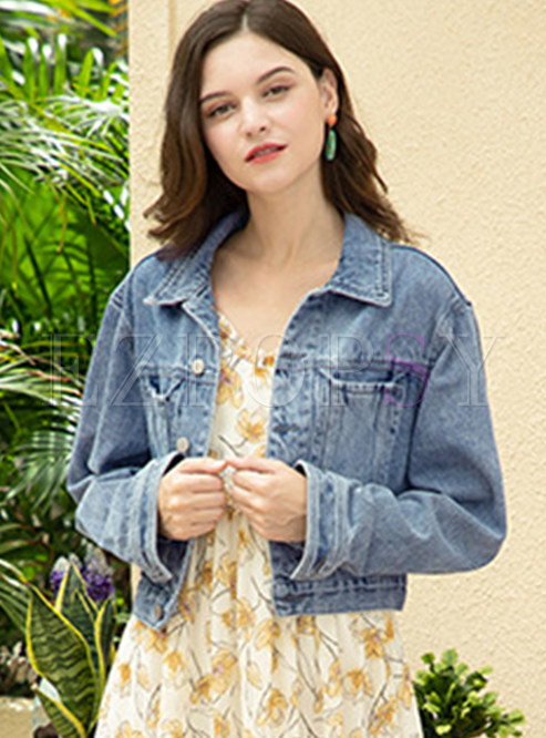 Casual Lapel Letter Short Denim Coat