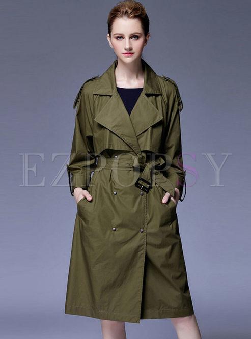 Lapel Long Sleeve Thin Trench Coat