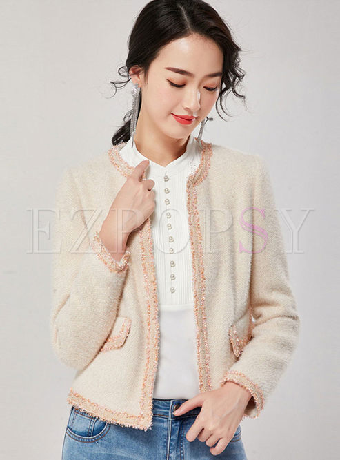 O-neck Long Sleeve Short Slim Coat