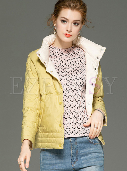 Solid Color Stand Collar Short Down Jacket