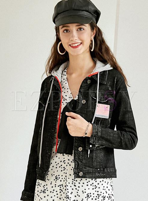 Black Slim Short Patchwork Hooded Denim Coat