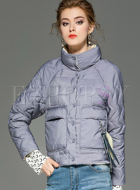 Stand Collar Slim Short Down Jacket