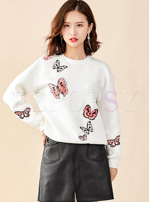 White O-neck Butterfly Embroidered Sweatshirt