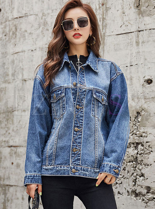 Lapel Long Sleeve Loose Denim Coat