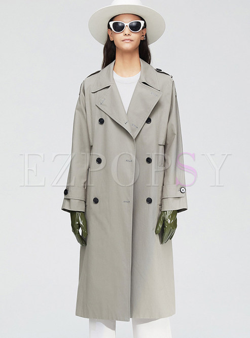 Gray Lapel Straight Trench Coat With Belt