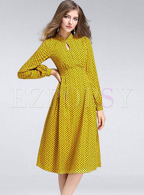 Standing Collar Long Sleeve Dot Dress