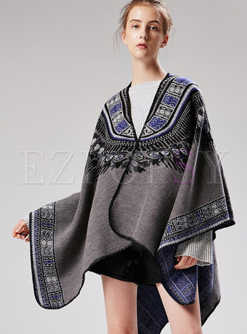 Fashion Tassel Print Thicken Cloak Scarf