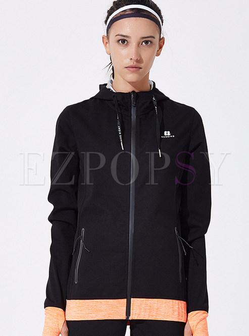 Color-blocked Zipper Hooded Sport Jacket