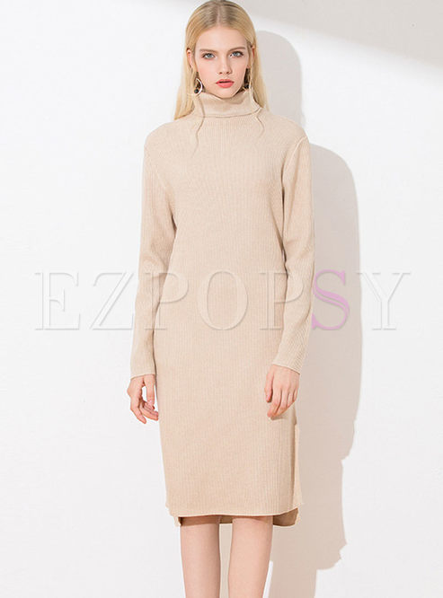 Turtleneck Long Sleeve Slim Sweater Dress