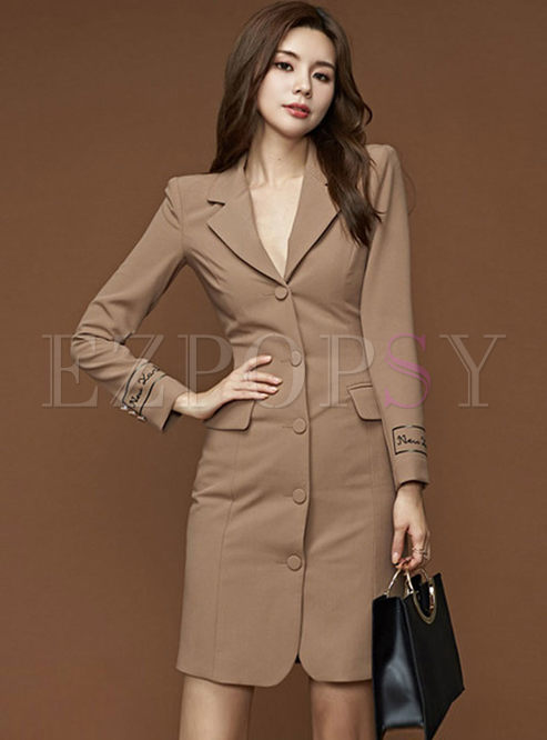 Work Notched Single-breasted Slim Dress