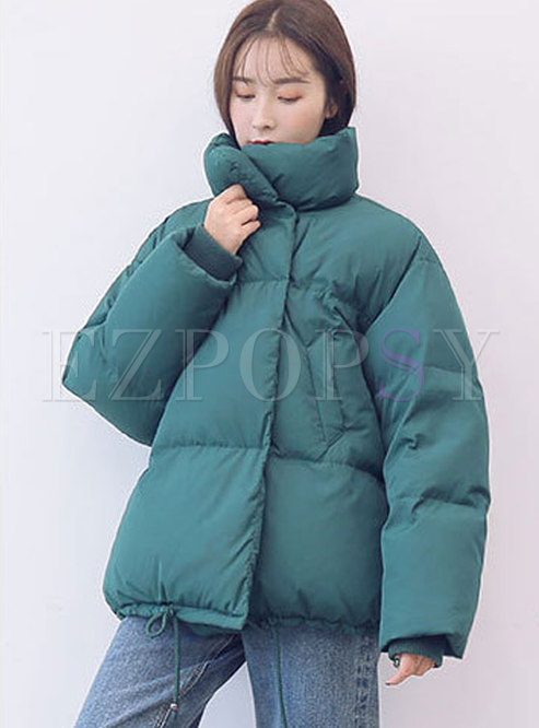 Casual Green Stand Collar Loose Bubble Coat