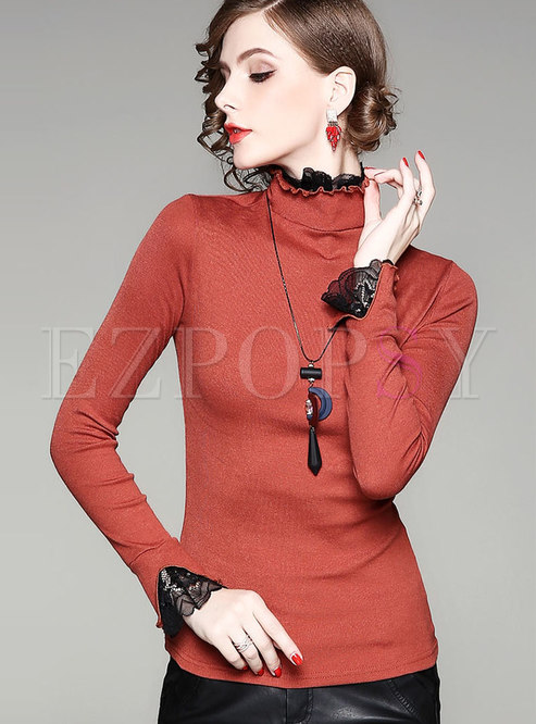 Solid Color High Collar Slim Blouse