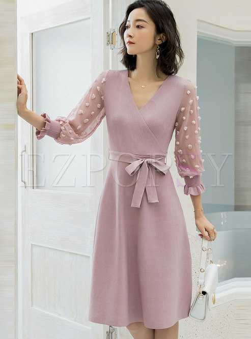 Pink Lace Patchwork A Line Sweater Dress