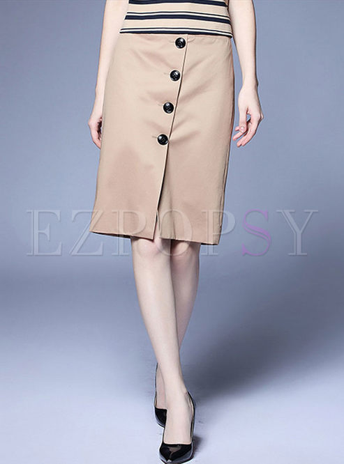 Work Solid Color Slim Bodycon Skirt