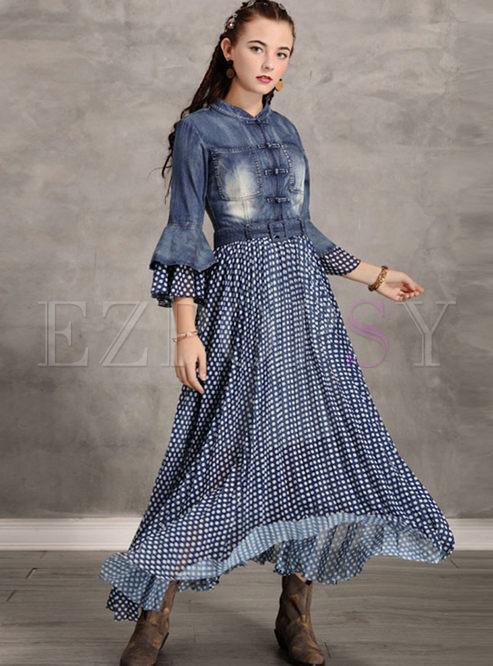 Retro Flare Sleeve Patchwork Polka Dot Denim Maxi Dress