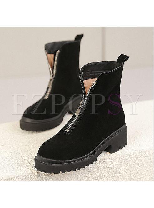 Round Head Zipper Platform Short Boots
