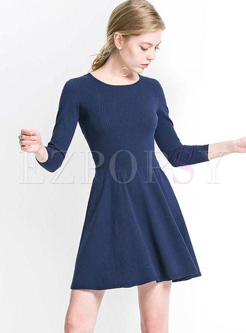 O-neck 3/4 Sleeve A Line Sweater Dress