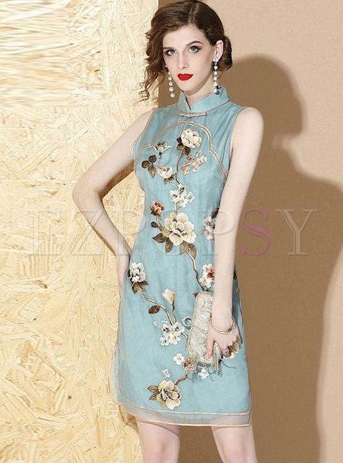 Vintage Mandarin Collar Sleeveless Print Dress