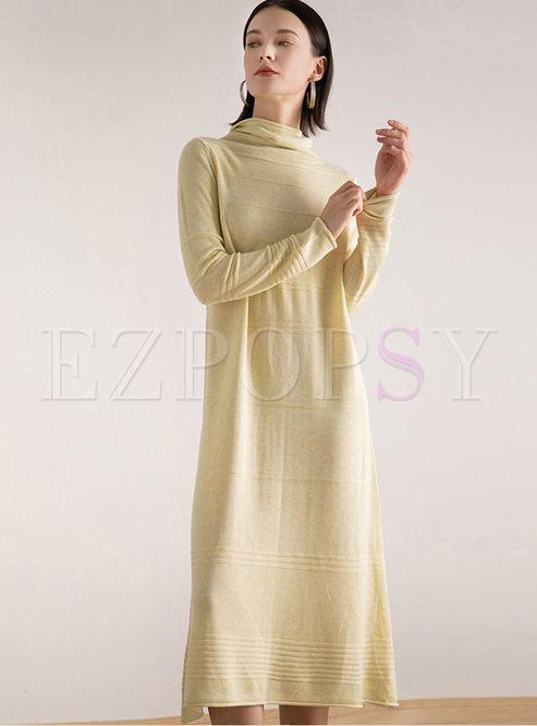 Brief Solid Color Turtleneck Sweater Dress