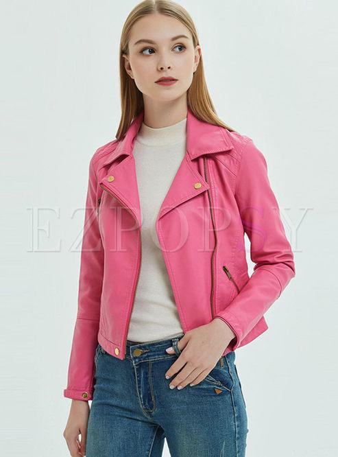 Solid Color Lapel Short Biker Jacket