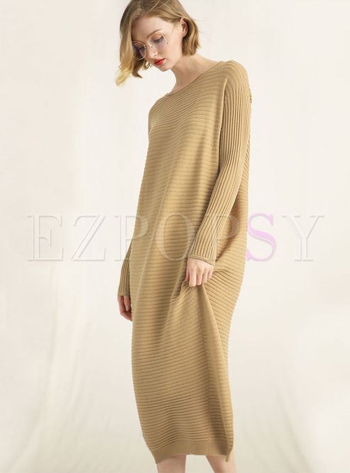 Brief Pullover Loose Long Knitted Dress