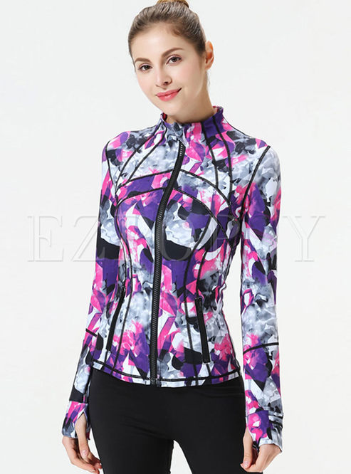 Stand Collar Slim Print Jacket