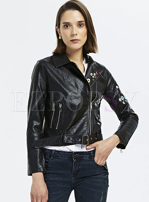 Turn Down Collar Embroidered Leather Jacket