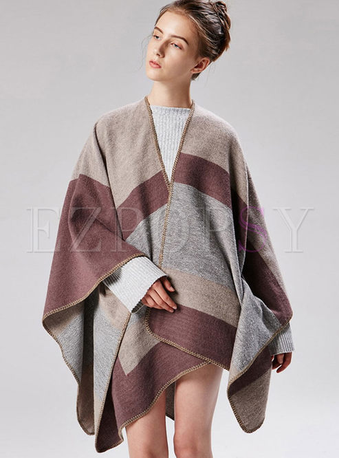 Brief Stripe Thicken Cloak Scarf