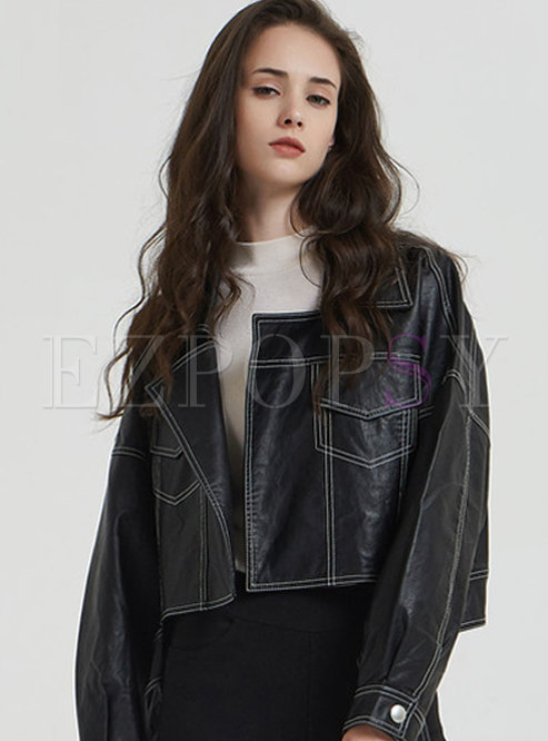 Black Lapel Short Biker Jacket