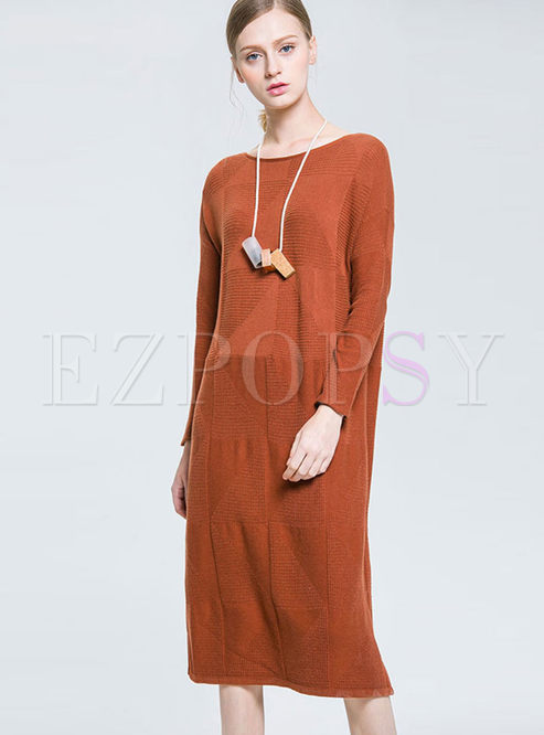 Brief Solid Color Loose Sweater Dress