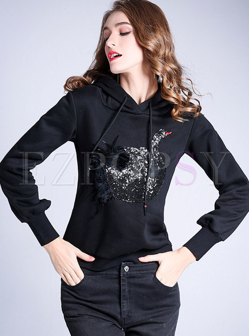 Casual Embroidered Hooded Slim Sweatshirt