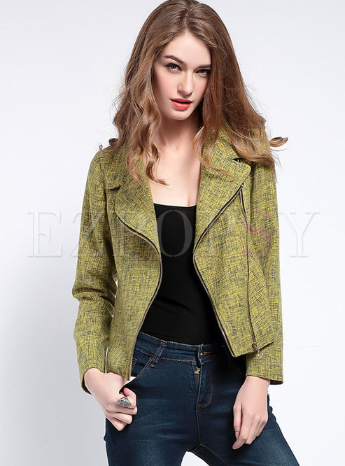 Lapel Zipper Slim Short Jacket