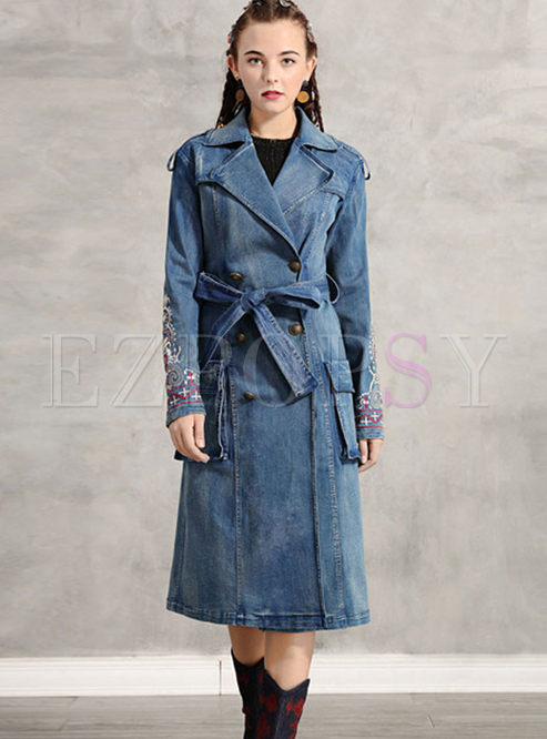 Turn Down Collar Embroidered Denim Trench Coat
