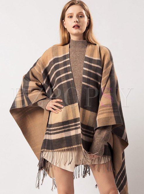 Muti-color Plaid Tassel Cloak Scarf